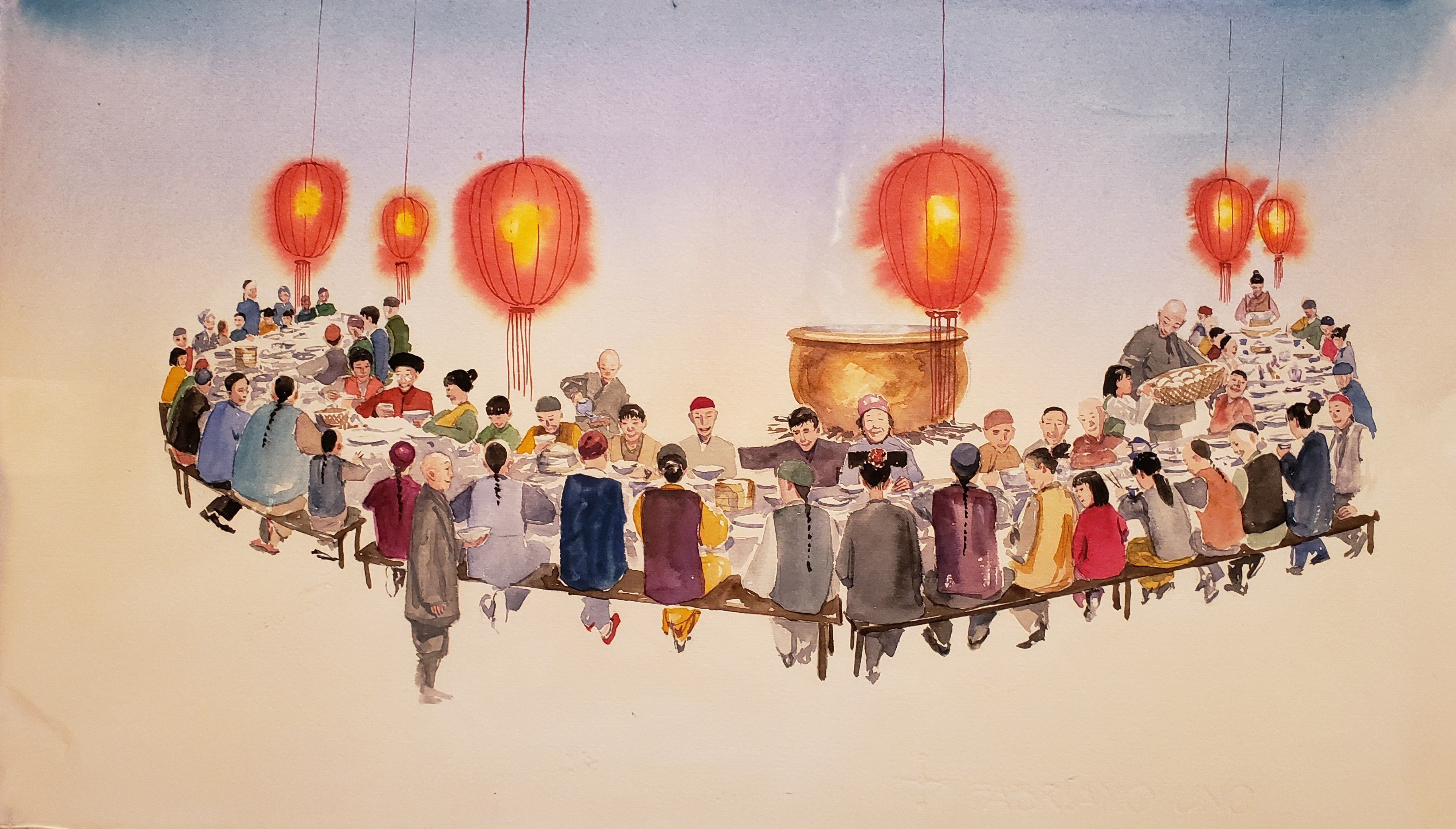 painting of people sitting around a table