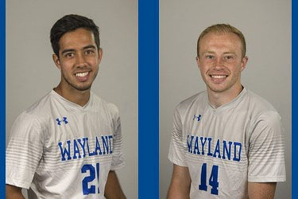 Two soccer players' head shots