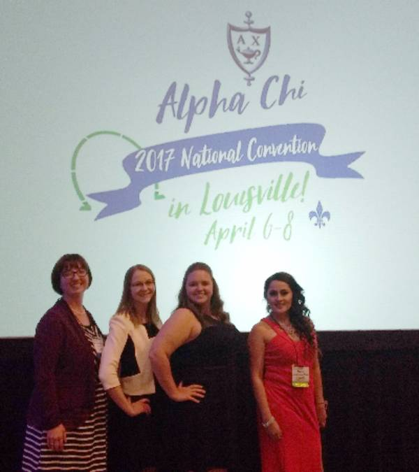 Alpha Chi chapter representatives from Wayland Baptist University attended and presented at the Alpha Chi national convention in Louisville, Ky., April 6-8. Pictured are (from left) Dr. Rebekah Crowe, assistant professor of history and chapter sponsor, Sierra Bailey, Emily Boardman and Dania Martinez-Diaz.