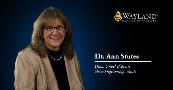 title screen with image of woman in brown blazer and black blouse looking at the camera with her name, Dr. Ann Stutes, and title, Dean, School of Music and Shaw Professorship.