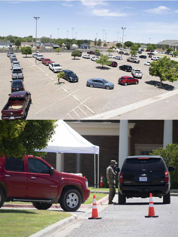 Top image is of a line of vehicles snaking through a parking lot. Bottom pictures is of a man in military fatigues in the distance talking to the driver of an SUV.