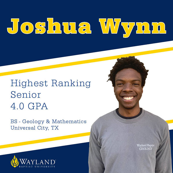graphic recognizing Joshua Wynn as the highest rankging graduate